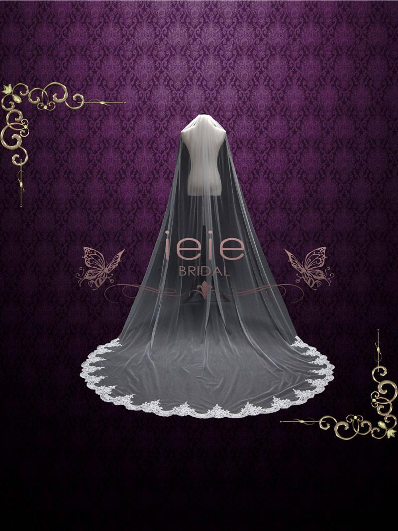 Wedding - Cathedral Veil with Soft Tulle and Laces at the End