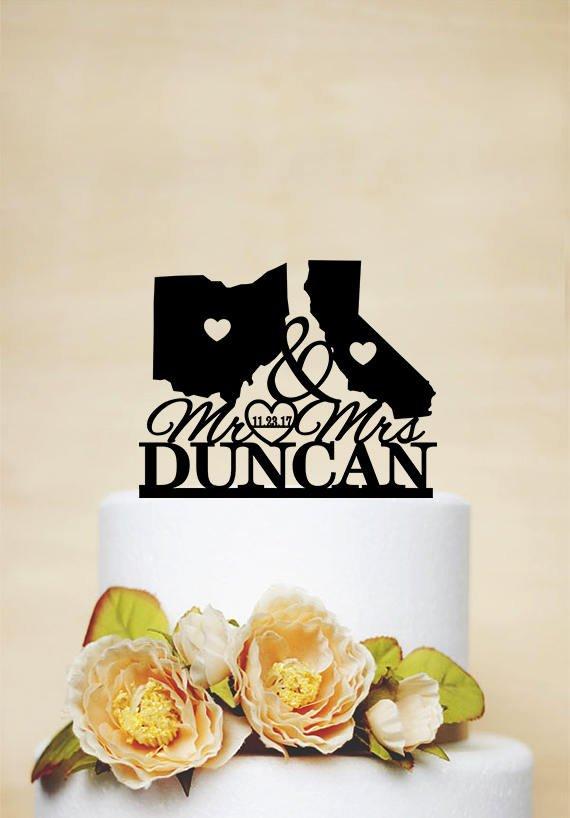 Свадьба - States Wedding Cake topper,Mr & Mrs Cake Topper,Last Name Cake Topper,Map Cake Topper,USA States wedding Theme,Personalized Cake Topper C202
