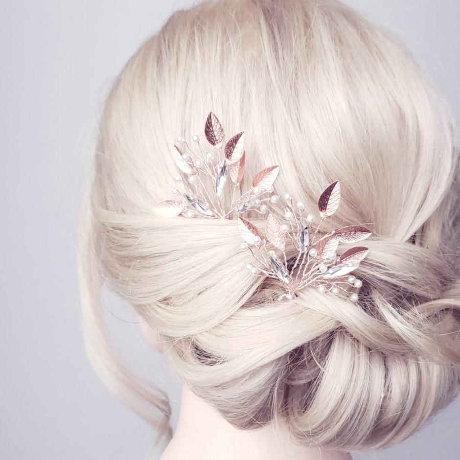 Hochzeit - Rose Gold Hair Comb, Bridal Hair Pieces, Leaf Hair Accessory, Bridal Hair Comb, Rose Gold Hair Clips, Wedding Hairpiece, Pearl Hair Comb