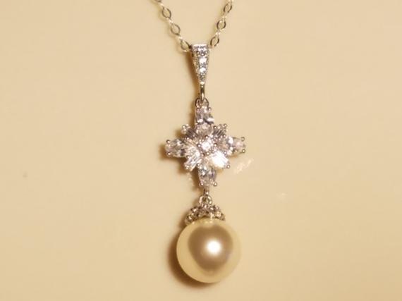 Wedding - Pearl Cubic Zirconia Bridal Necklace, Swarovski Ivory Pearl Silver Necklace, Wedding Bridal Jewelry, Prom Pearl Necklace, Pearl CZ Necklace
