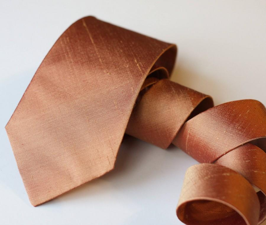 Mariage - Copper Neck Tie - Raw Silk Ties - Metallic Tie - Copper Wedding Neck Ties - Dark Rose Gold Tie - Groomsmen Ties - Copper Wedding - Rustic-09