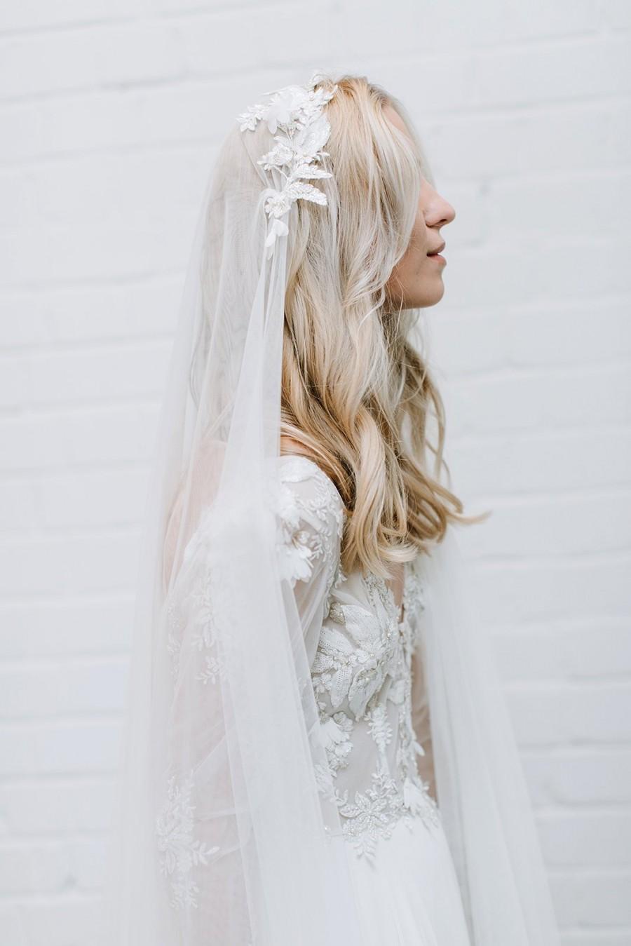 Wedding - Bohemian Wedding Cap Veil, Bridal Veil , 3D Floral Lace Veil, Juliet Cap Veil, Veil for Boho Bride, Two Layers Veil for  Bride - Camila