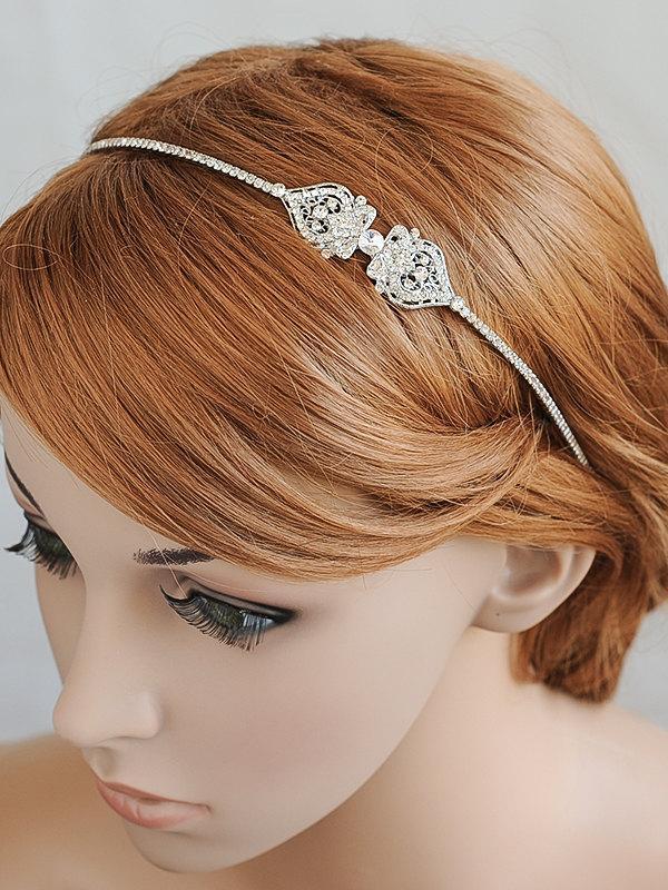 Свадьба - Bridal Headband, Wedding Headband, Crystal Filigree Headband, Vintage Style Wedding Hairband, Bridal Hairpiece, Hair Jewelry, GRACE
