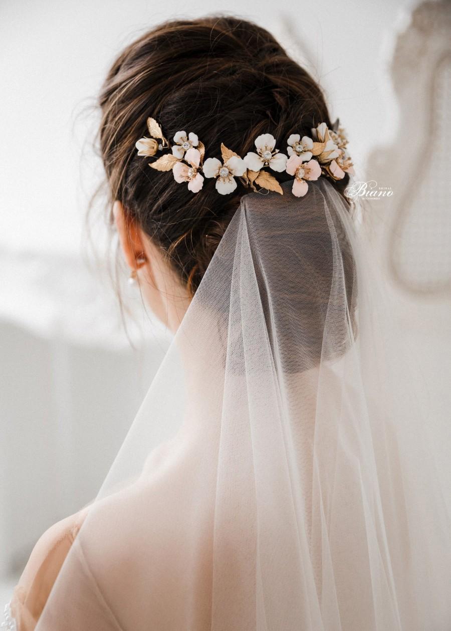 Wedding - Wedding Headpiece Gold, Bridal Headpiece Flower, Bridal Hair piece, Wedding Headpiece, Gold Leaf Headpiece, Wedding Hair Accessory- BELLA