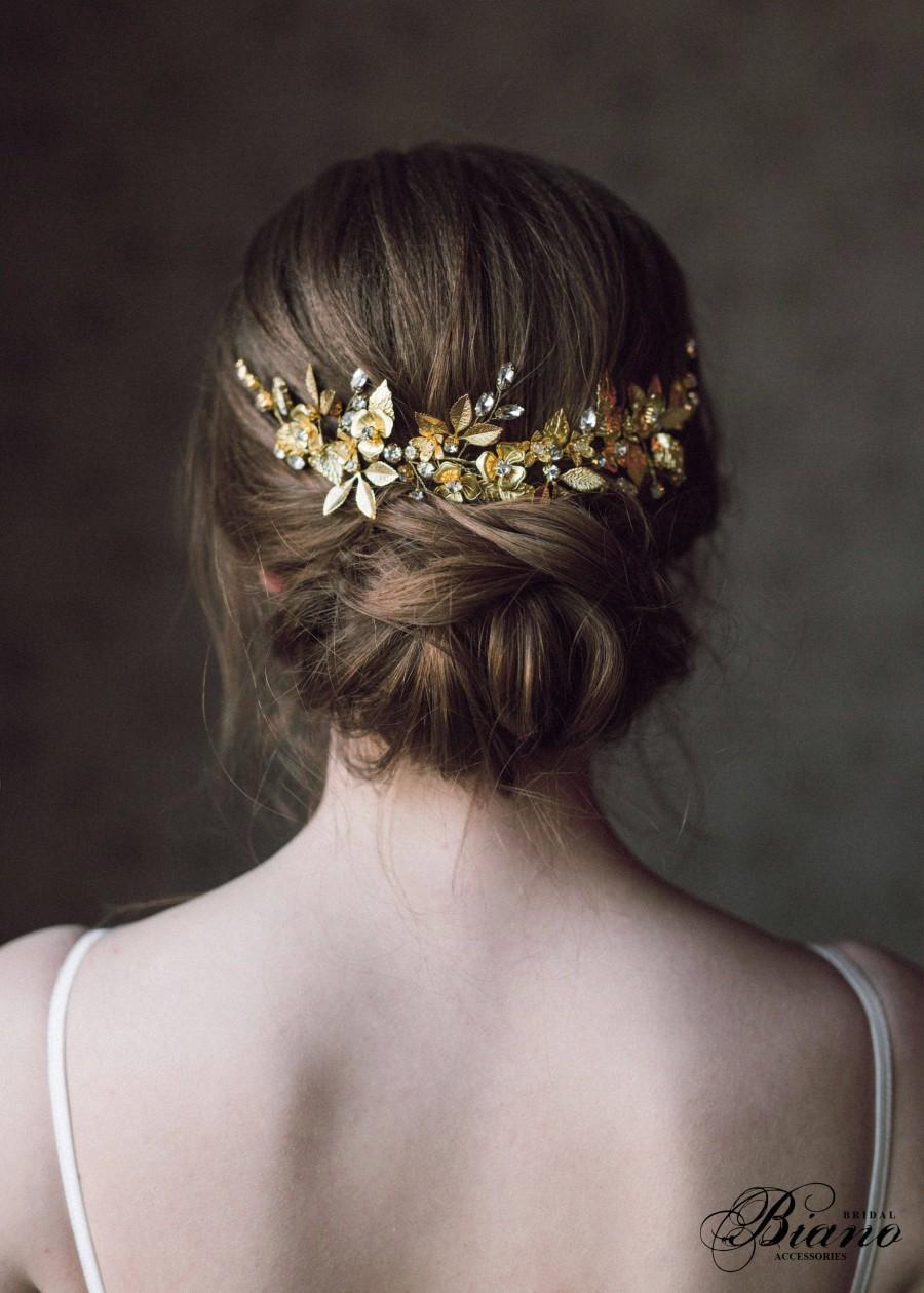 Wedding - Wedding Headpiece, Gold Leaf Headpiece, Woodland, Grecian Hairpiece, Bridal Back Headpiece,Wedding Hair Vine,Leaf Halo,Bridal Crown- ANTHEIA