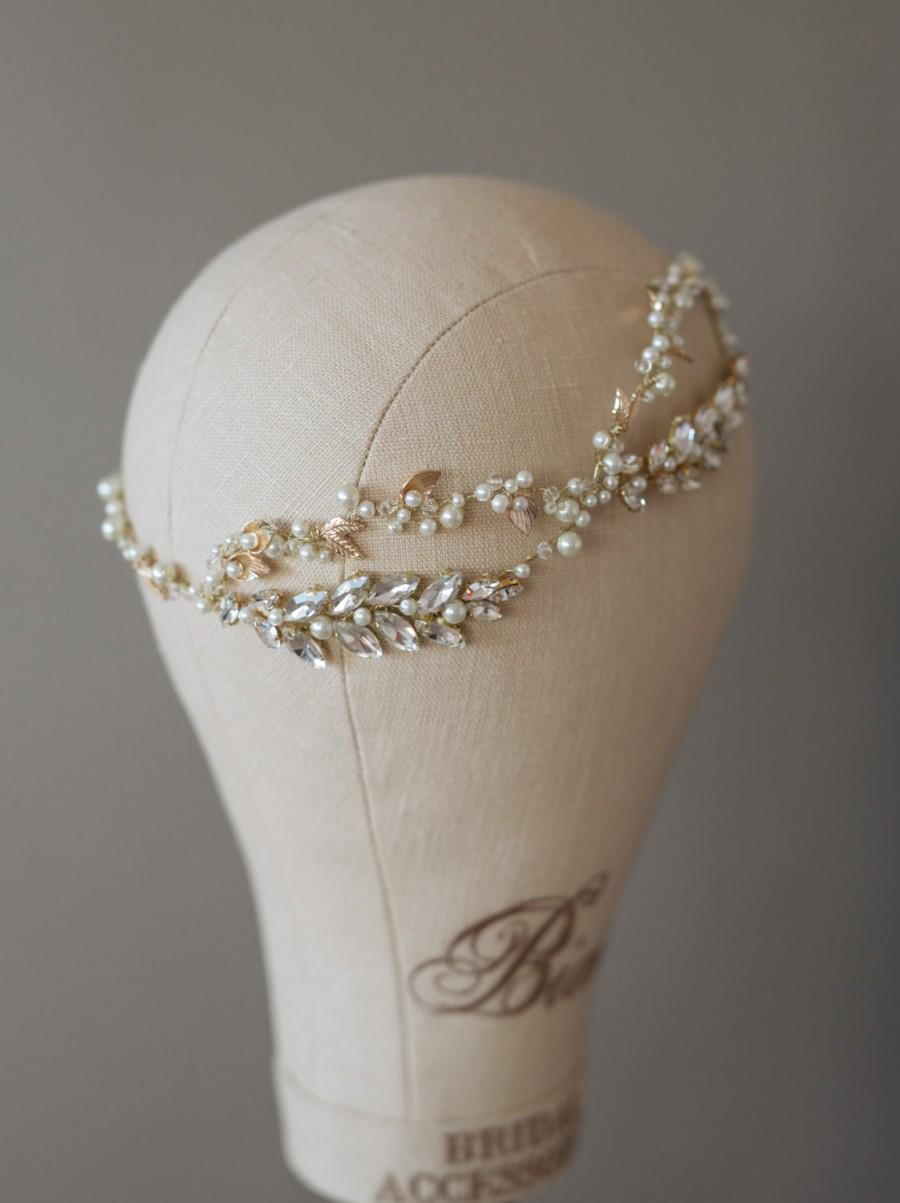 Wedding - Bridal Headband, Bridal Headpiece, Pearl headband, Bridal hair vine, Wedding Tiara Pearl, Crystal tiara, Gold headpiece- CRISTY