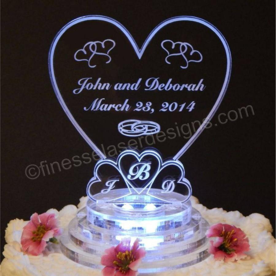 Mariage - Monogram Heart Wedding Cake Top - Light Up Cake Top - Acrylic Wedding Cake Topper - LED Cake Topper