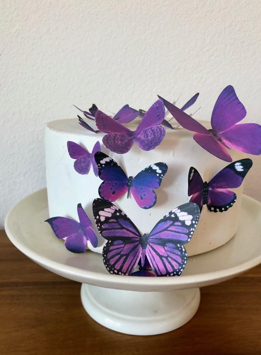 Wedding - Edible Butterflies Assorted set of 15 Royal Purple- Cake and Cupcake Topper Decoration Supply