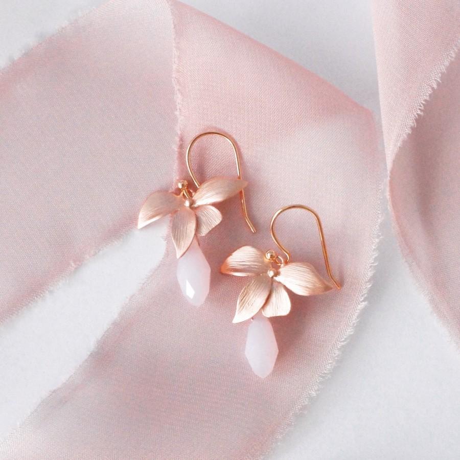 Wedding - Rose Gold Earrings Wedding Bridal Jewelry Bride Earrings Rose Gold  Wedding Jewelry Bridesmaid Gift Crystal Bridal Earrings Rose Earrings CZ