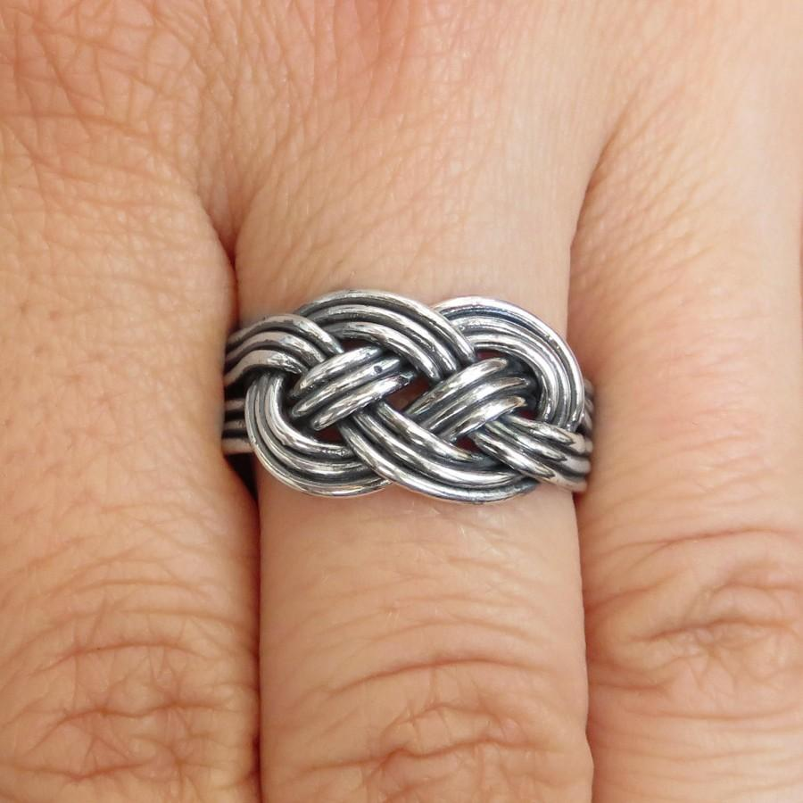 Wedding - Love Knot Ring - Promise Ring - Knotted Ring - Double Knot Ring - Celtic Knot Ring - Nordic Ring - Plain Silver Ring - Gift for Boyfriend