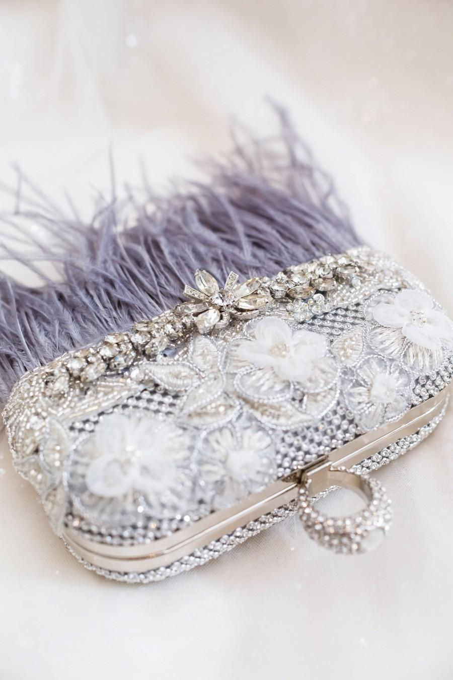 Wedding - Gray Feather Bridal Clutch,  Rhinestone Wedding Purse, Bridal Clutch, Bridesmaids gift, Evening Clutch Bag, Wedding Clutch , Feather Clutch