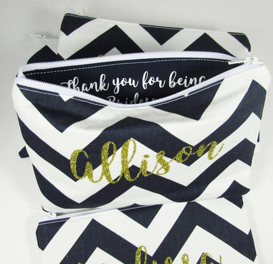 Wedding - Thank you for being my Bridesmaid Gift - Maid of Honor - Monogram Makeup bag - Personalized - Thank you Gift - Mother of Groom Gift - Medium