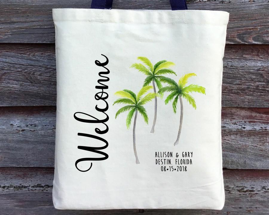 Wedding - Wedding Welcome Bag, Destination Wedding Guest Tote, Hawaii Wedding Tote, Florida Wedding Tote, Palm Tree Wedding Tote, Beach Wedding Tote