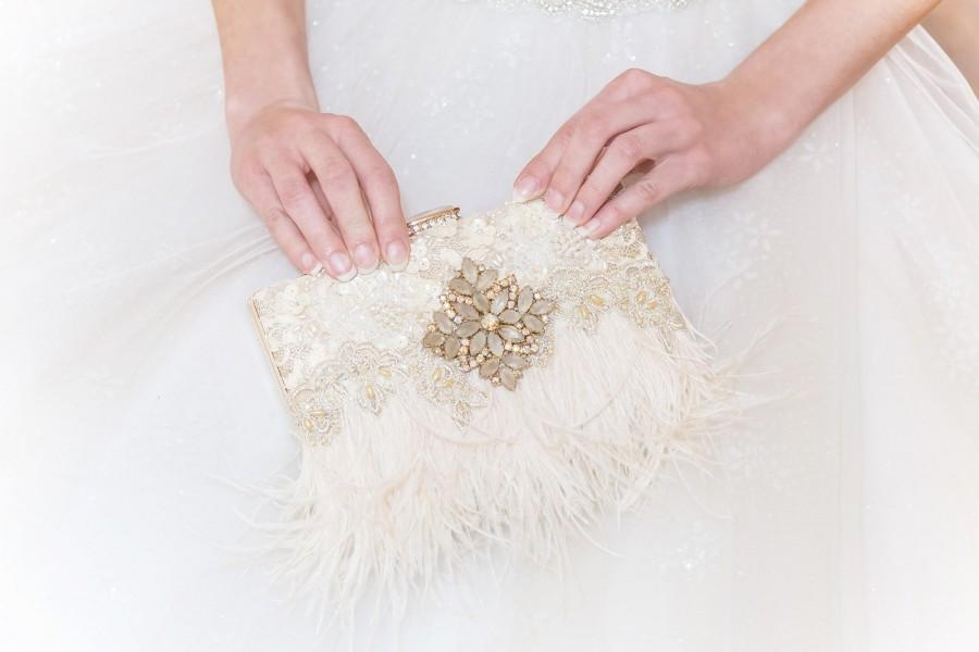 Wedding - Cream and Gold Ostrich Feather Bridal Clutch, Feather Wedding Clutch, Bridal Clutch, Bridal Purse, Mother Of The Bride, Rhinestone Clutch