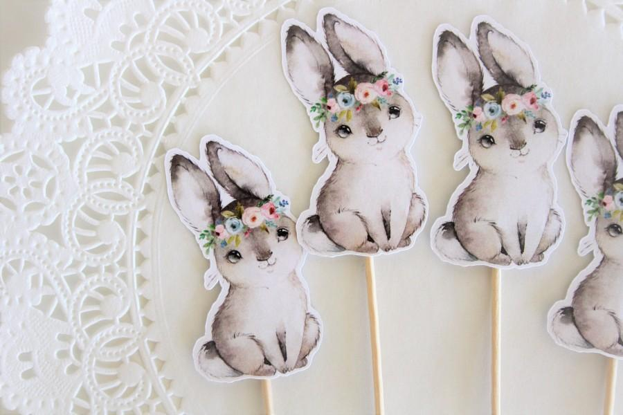 Mariage - Bunny Cupcake Toppers. Bunny Theme. Woodland. Floral Theme. Baby Shower. Birthday Party. New Baby. Floral Theme. Flowers. Floral Crown