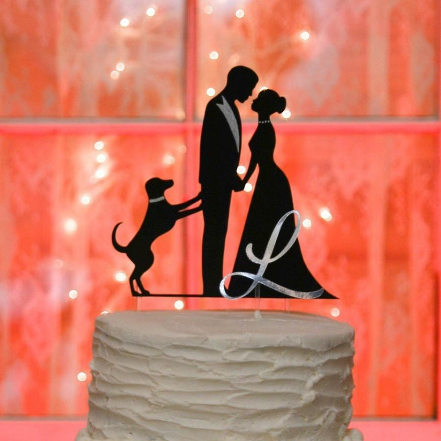 Hochzeit - Bride Groom Dog Silhouette Wedding Cake Topper with Initial