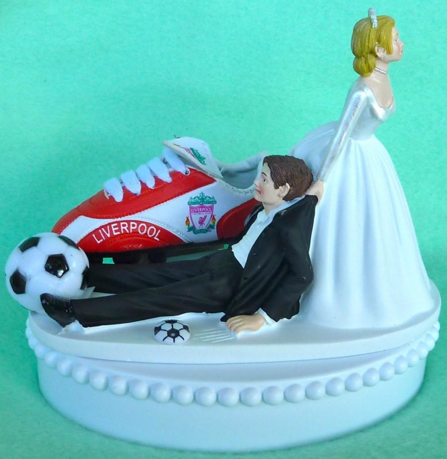 Hochzeit - Wedding Cake Topper Liverpool F.C. Football Club Soccer Themed w/Bridal Garter Sports Fan Fun Bride and Groom Unique Humorous Sporty Ball