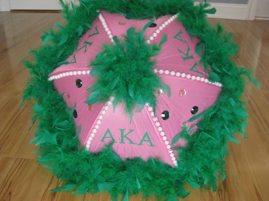 Wedding - AKA Alpha Kappa Alpha Sorority Second Line Umbrella Pink Green- New Orleans- Shade, Walk, Event- bead spines, handpaint, boa, gems