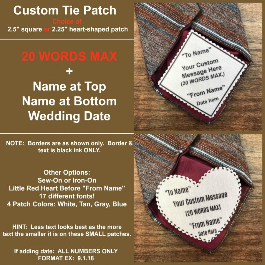 """Wedding - CUSTOM TIE PATCH - Personalized Message, Father of the Bride, Father of the Groom, Little Red Heart Option, 2.5"""" Square or 2.25"""" Heart Shape"""