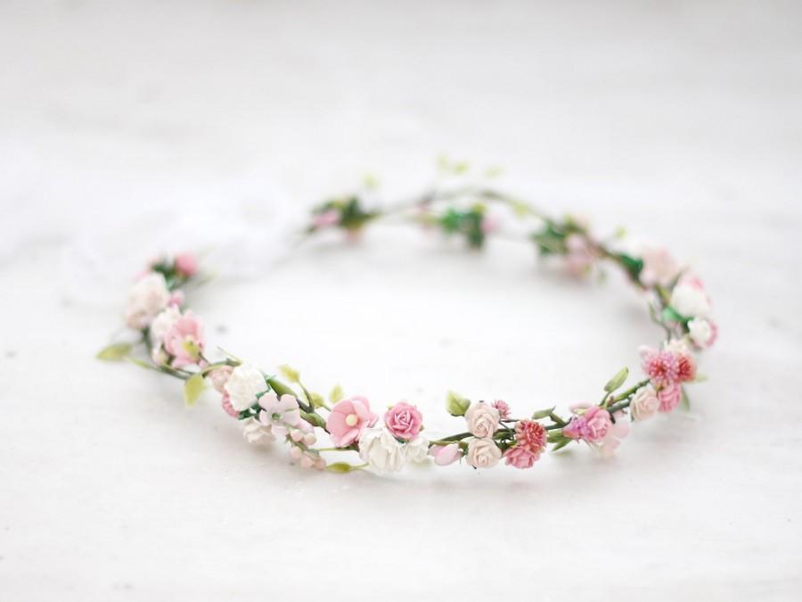 Wedding - Danity flower crown wedding, blush floral headband bride