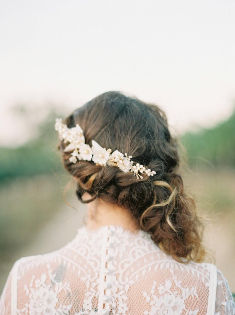 زفاف - Floral Wedding Hair comb, Bridal hair comb, flowers headpiece, leaves headpiece, flower bridal headpiece, wedding hair accessory