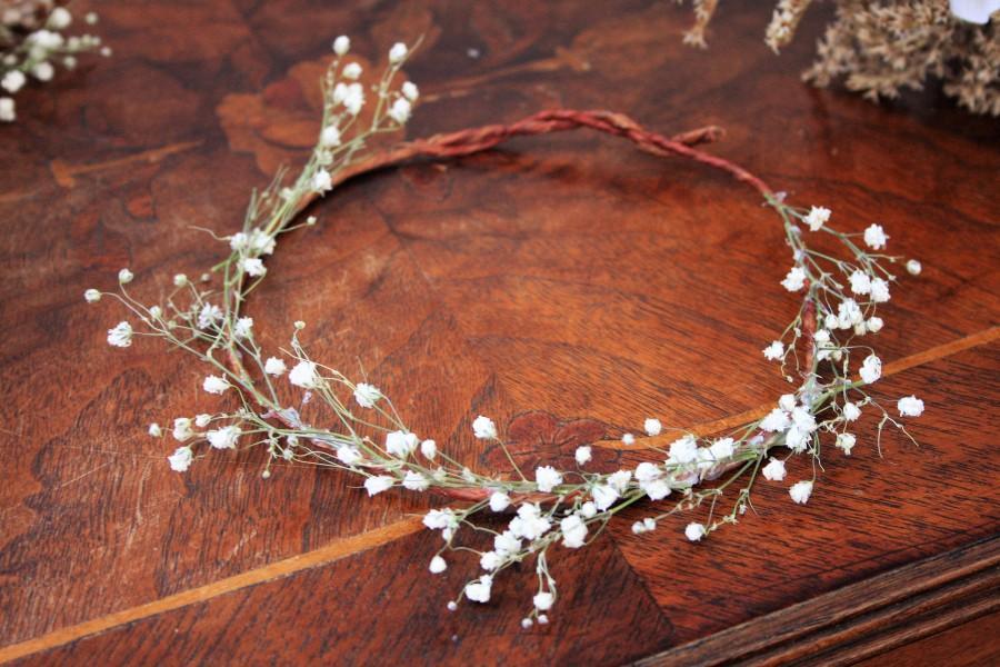 زفاف - Baby's Breath Crown, Simple and elegant crown, Dried Babys Breath Headpiece, Wedding Head piece, Bridal Crown, Woodland Wedding, Hair piece