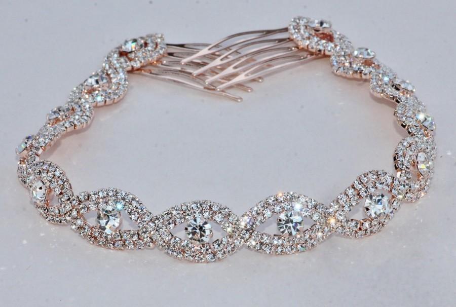 Wedding - GORGEOUS Rose Gold Rhinestone Hair Chain,Bridal Back Headpiece,Clear Crystal Rhinestone,Delicate Pair Hair Combs,Weddings,Boho,Headpiece