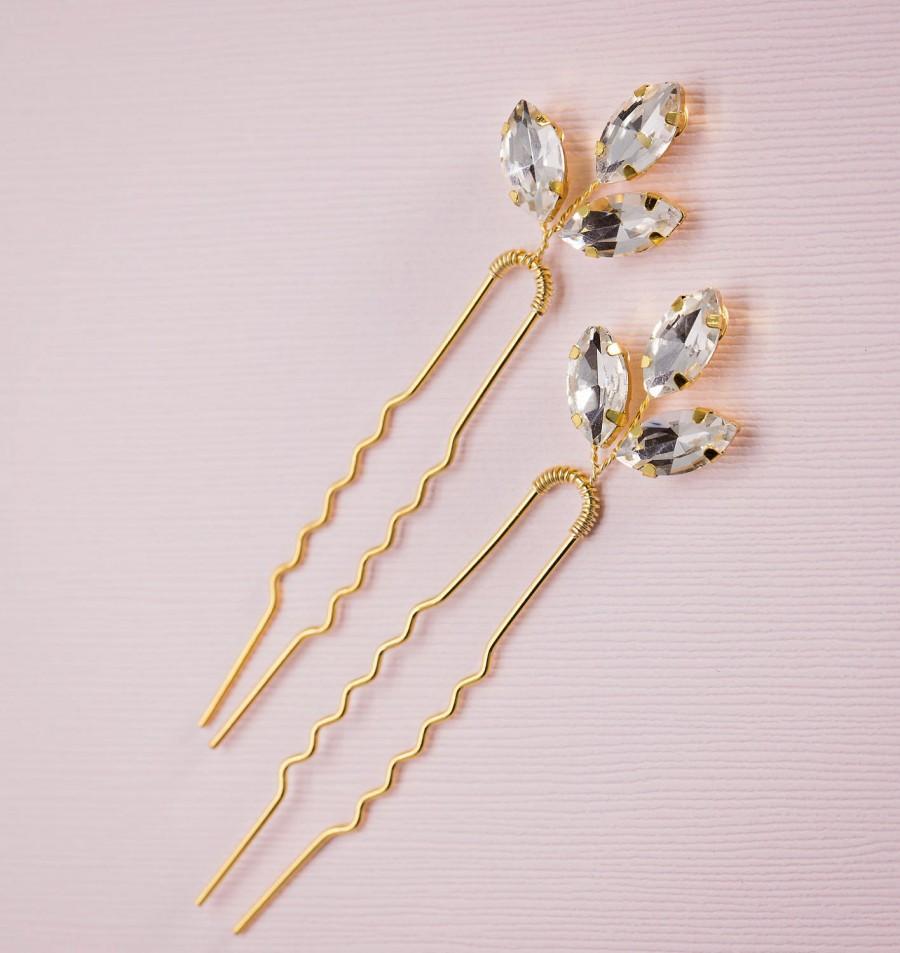 Wedding - Gold leaf hair pin, Crystal leaf hair pin, Gold hair pin, Gold Hair vine, Gold bridal headpiece, Rhinestone hair pin