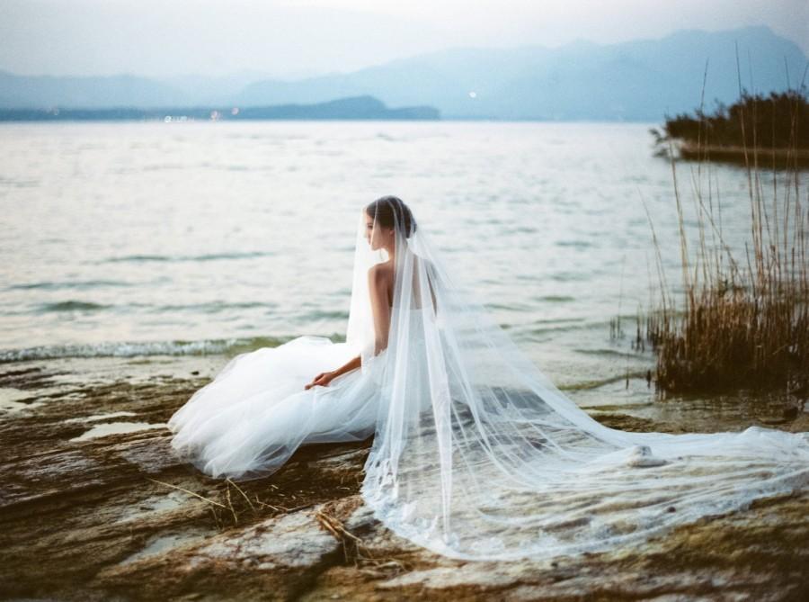 Wedding - Lace wedding veil, bridal veil, cathedral blusher veil, Chantilly lace soft tulle wedding veil, ivory lace wedding veil, Style V35