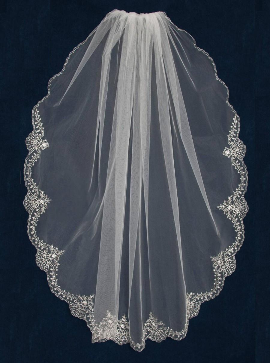 "Wedding - Wedding Veil with Silver Beaded Embroidery Lace Design Scallop 45"" Long Knee Length Bridal Veil- Free Tulle Swatches"