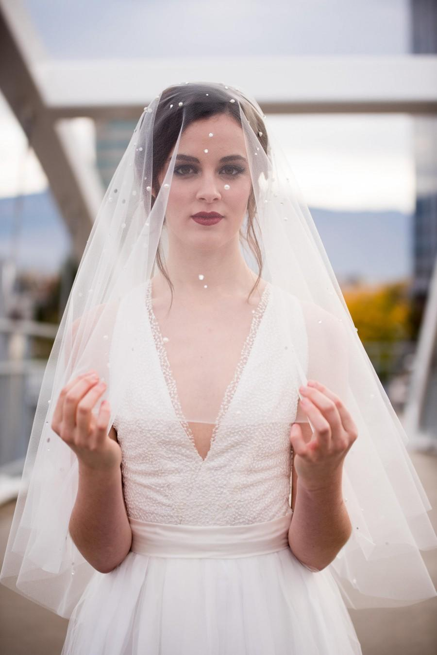 "Wedding - Veil - ISABELLA Pearl & Rhinestone detail, 30""- 110"" lengths available (8 Colors to choose from)"