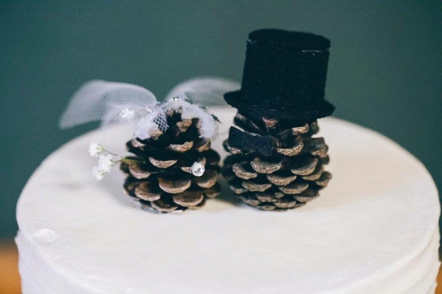 Свадьба - Pinecone Wedding Cake Toppers
