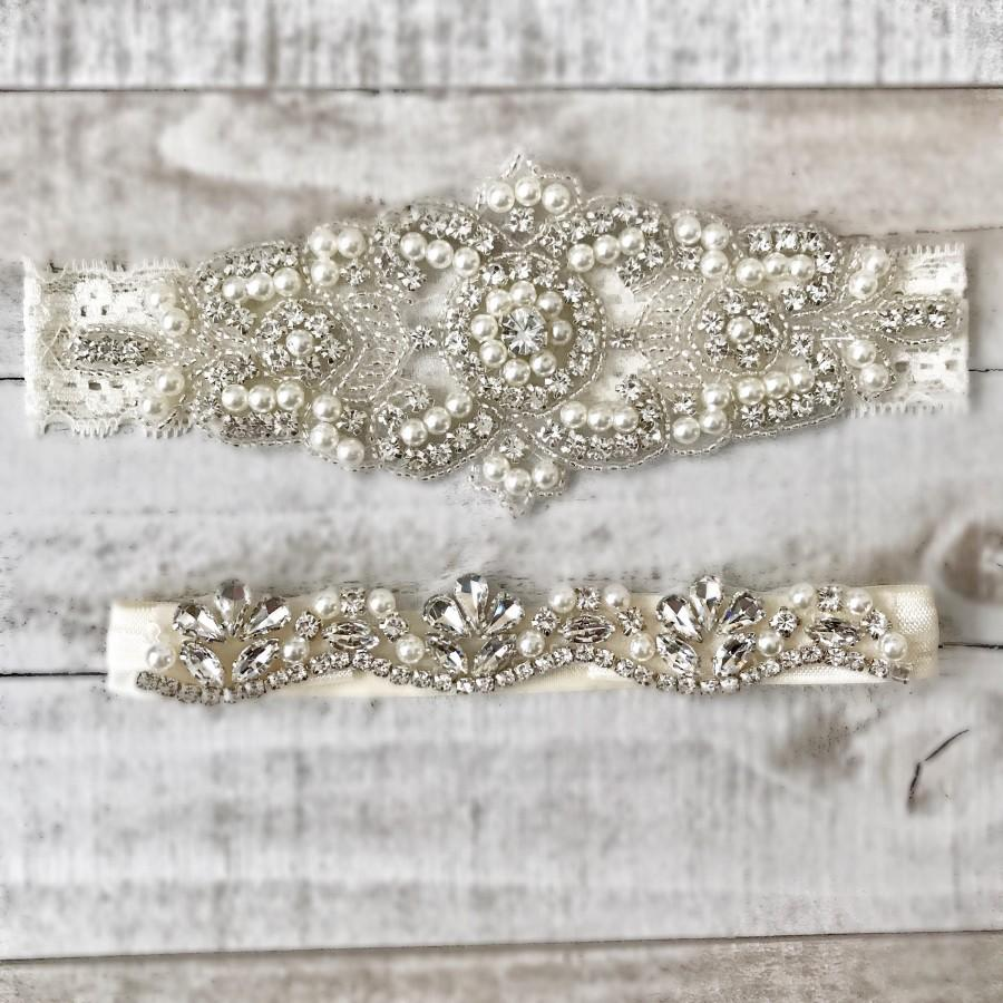 Wedding - Elegent antique ivory Wedding Garter Set NO SLIP grip vintage rhinestones bridal garter B08S-EB06S