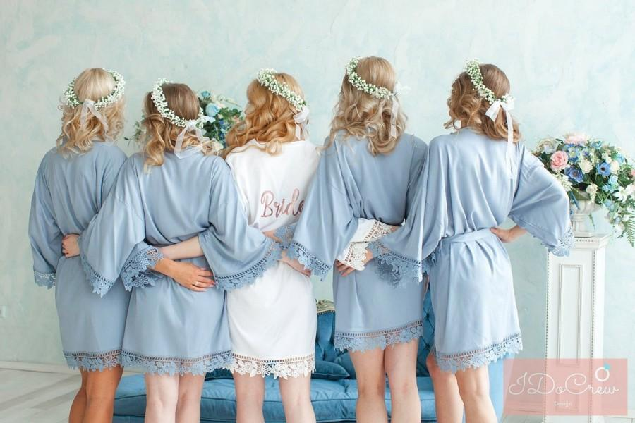 Wedding - Sale! Lace Bridesmaid Robes - Bridesmaid Gifts - Cotton Robe - Getting Ready Robes - Bridal Party Gift - Kimono Robe - Bridesmaid Robes Set