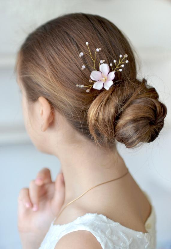 Hochzeit - Blush pink flower hair pin Wedding hair accessories Floral hair pins Bridal headpiece Cherry blossom hair pin crystals hair piece