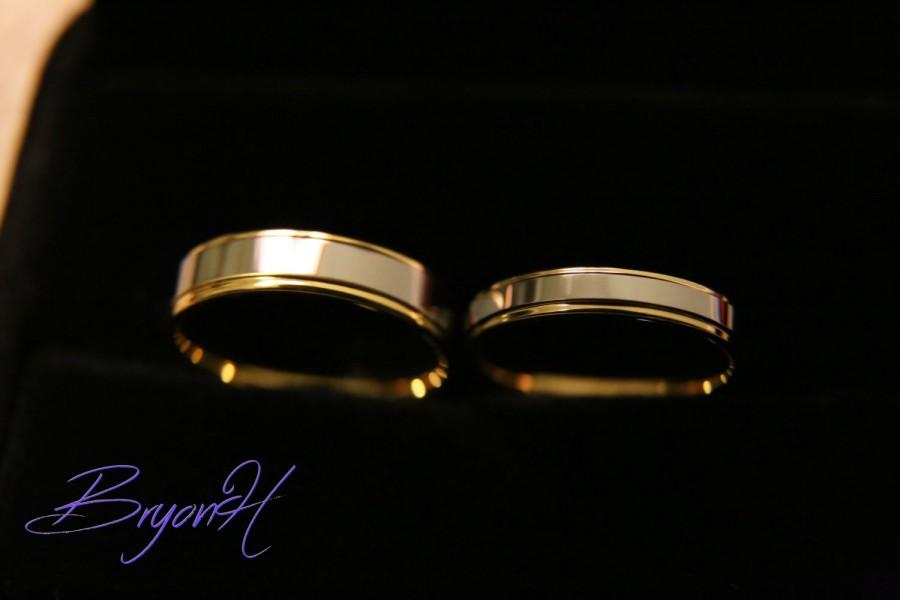 Wedding - Maching set, Tungsten Carbide Rings for Men and Women, Tungsten Wedding Bands Set, his and her promise ring, Free engraving, 5mm, 3.5mm
