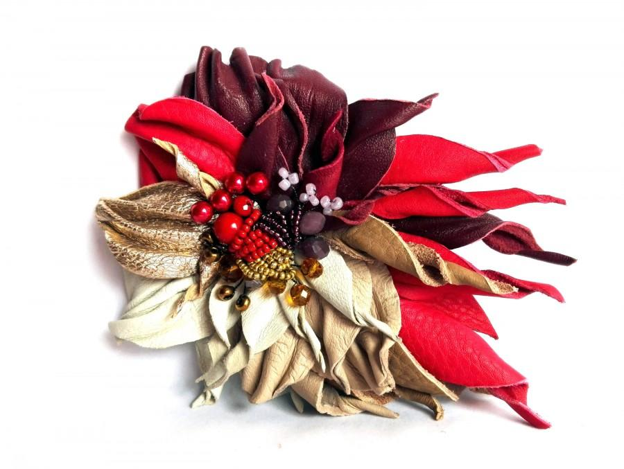 Wedding - Leather flower  brooch Leather jewelry 3rd anniversary gift