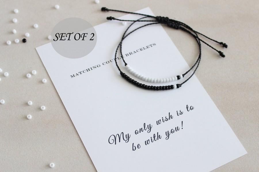 Wedding - Distance Bracelet, Matching Couple Bracelets, Long Distance Relationship, Couples Gift Set, His Her, Anniversary Gift, Friendship Bracelet