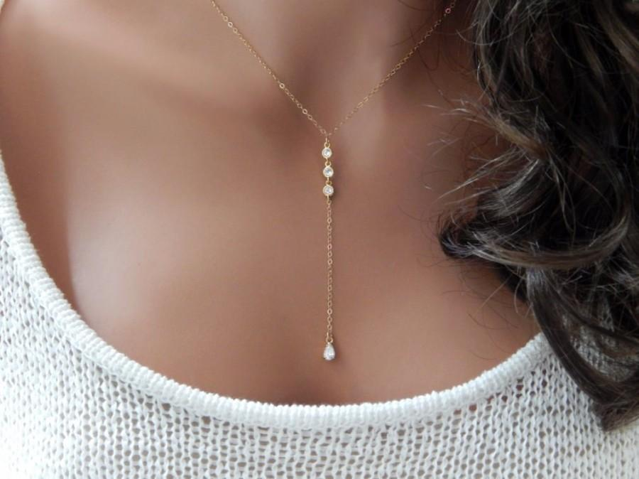Wedding - Lariat Necklace • Bridesmaid Gift • Diamond Bridal Y Necklace • Wedding Jewelry • Rose Gold Silver