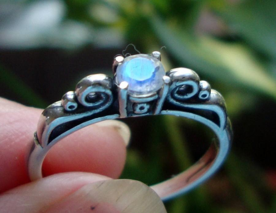 Wedding - Rainbow Moonstone in sterling silver ring - custom size Fair Trade, eco-friendly recycled- 4mm blue flash on white  Perfect Forever ring
