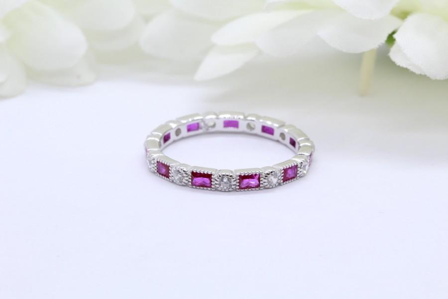 Wedding - 3mm Art Deco Band Ring Baguette Simulated Ruby Round Diamond CZ Solid 925 Sterling Silver Eternity Band, Anniversary Wedding Alternating