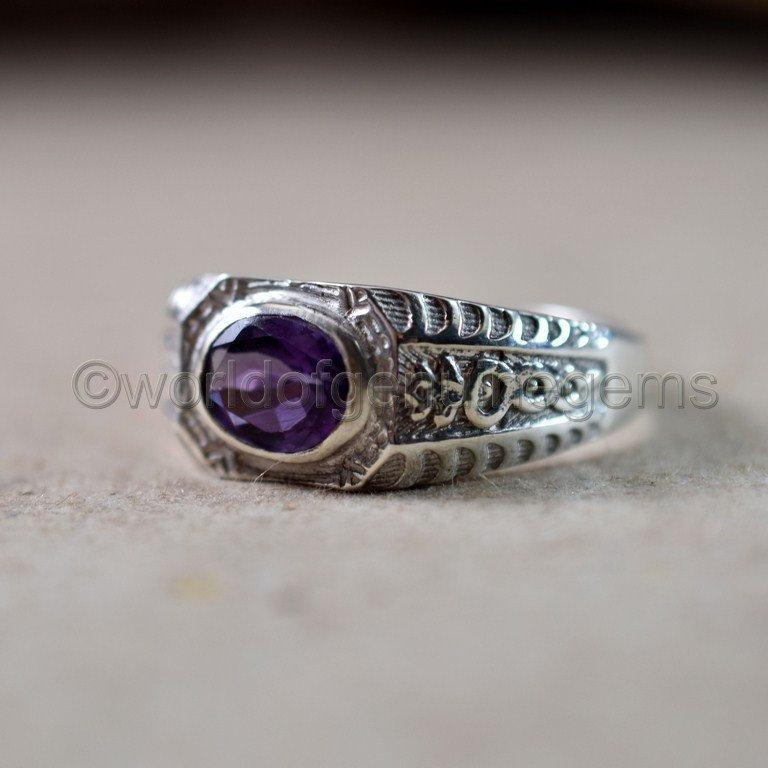Wedding - Natural Amethyst Ring 925 Sterling Silver Jewelry Brilliant Cut Amethyst Ring Men's Edwardian Ring Engagement Handcrafted Ring Gift For Him