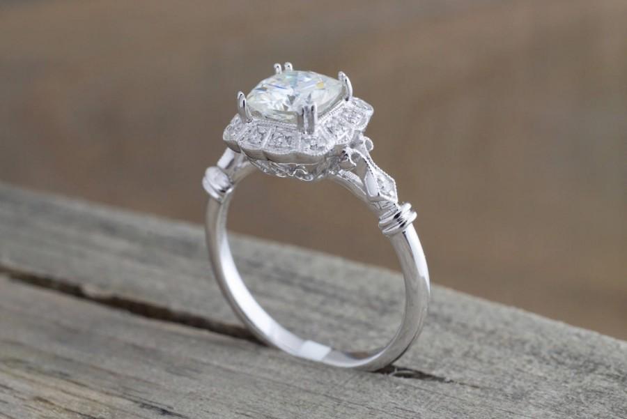 Wedding - 6.5mm Charles Colvard Forever Brilliant Cushion Moissanite 14k White Gold Flower Clover Diamond Halo Engagement Promise Ring