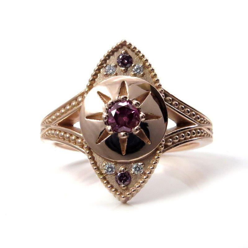 Wedding - Ready to Ship Size 6 - 8 - The Seer - Irradiated Purple Diamond Evil Eye Ring with White Diamonds and Millgrain - 14k Rose Gold