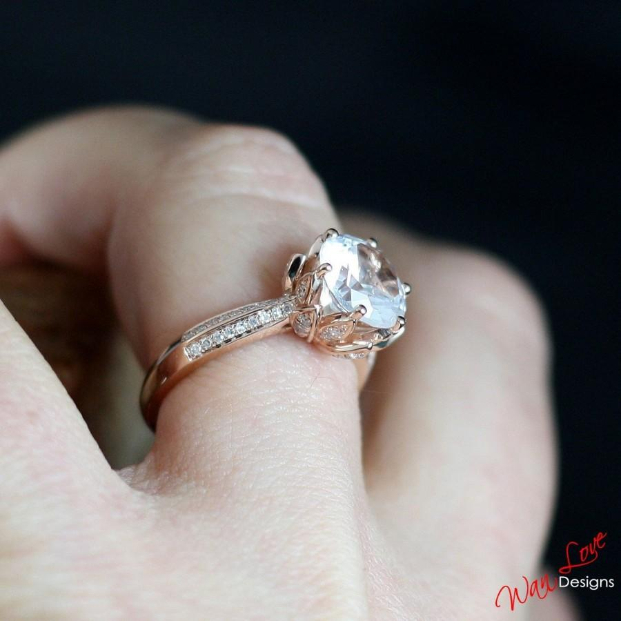Wedding - White Sapphire Diamond Lotus Flower Engagement Ring, Floral, Round cut, 2ct, 8mm, Custom madefor you, Wedding, Anniversary Gift, Commitment
