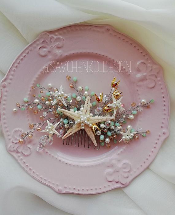 Wedding - mint and gold beach wedding hair accessories Starfish hair comb Seashell headpiece beach wedding headpiece