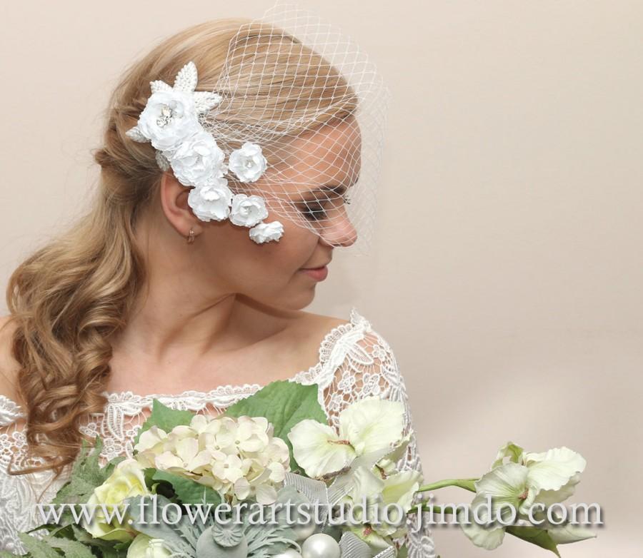 Wedding - White Birdcage Veil, Bridal Hair Flower, Bridal Veil, Bridal Blusher Veil, Bridal Hair Accessories, Bridal Headpiece, Birdcage Fascinator.