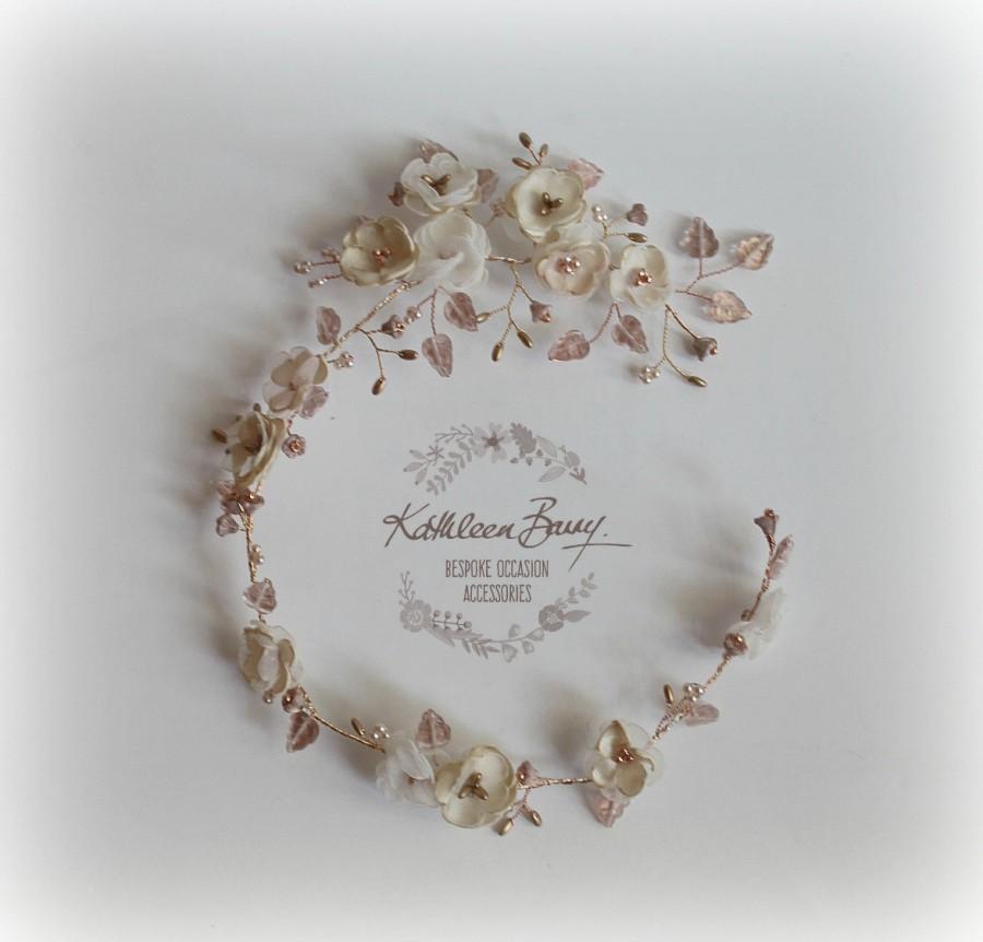 Wedding - Rose gold Bridal wreath wedding hair accessory accessories - wedding headband - champagne blush pink flower crown - STYLE: Wendy