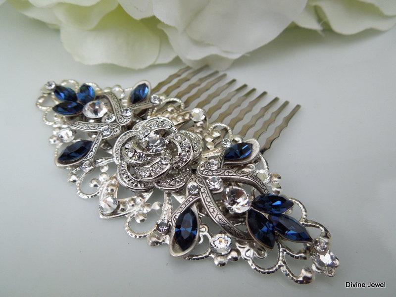 Wedding - Swarovski Crystal Bridal Hair Comb Wedding Hair Comb Something Blue flower and leaf wedding Hair accessories vintage style ROSELANI