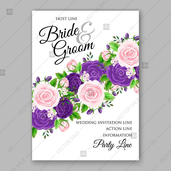 Wedding Invitation Card Template Purple Pink Rose Greenery Floral